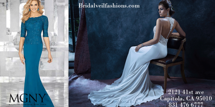 beautiful wedding gown and mother of the bride dress