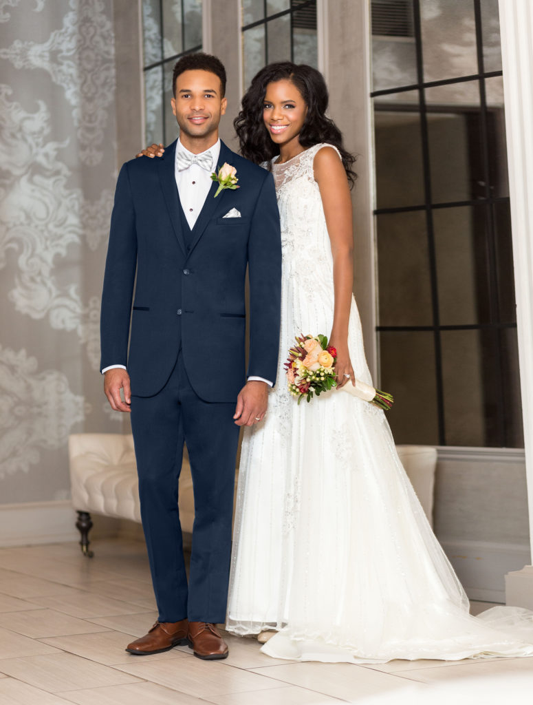 handsome wedding couple dress and tux